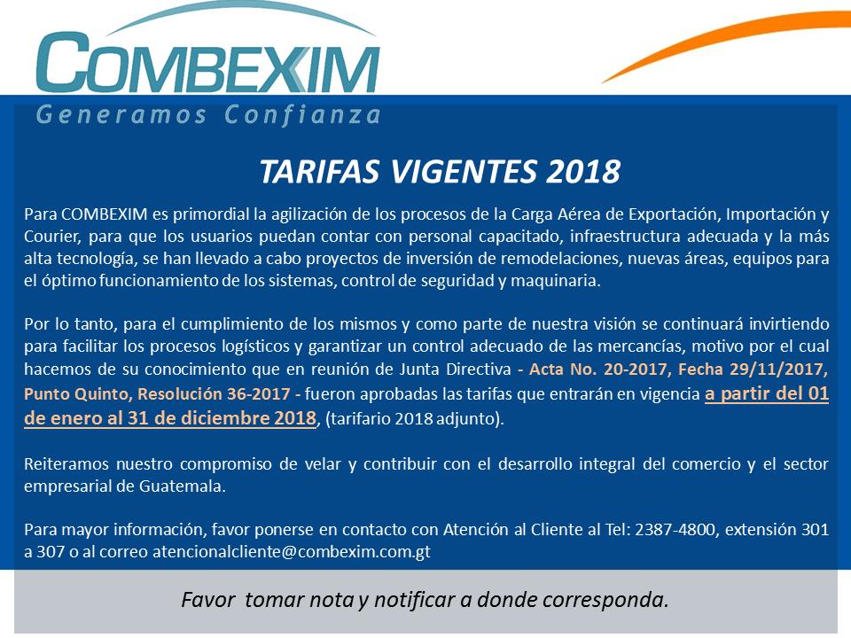 AVISO - Tarifas Vigentes 2018 -
